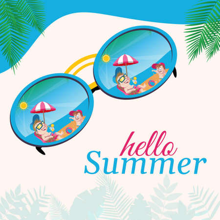 Banner design of hello summer template.