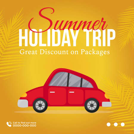 Banner design of summer holiday trip great discount on packages. 矢量图像