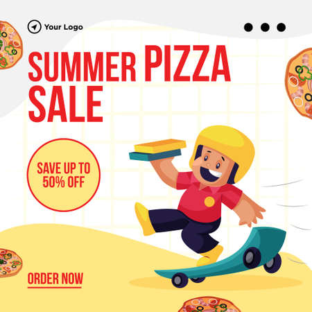 Summer pizza sale banner design template. 矢量图像