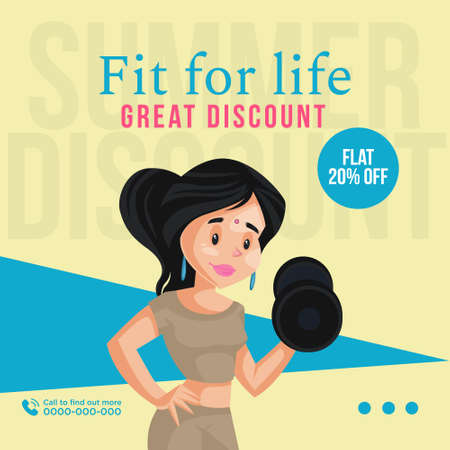 Banner design of fit for life great discount template. 矢量图像