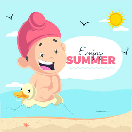 Enjoy summer banner design with Punjabi kid sitting on a duck.