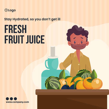 Fresh fruit juice stay hydrated summer banner design template.