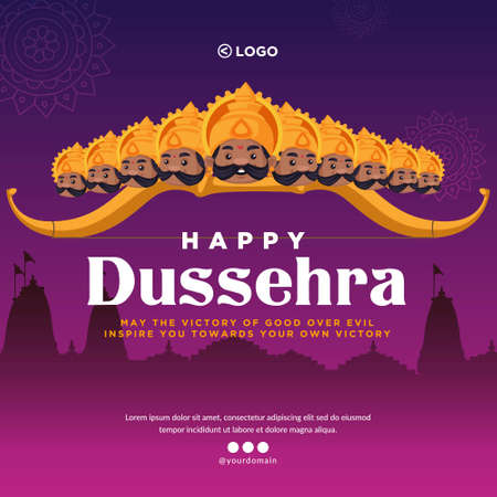 Banner design of Indian festival Happy Dussehra cartoon style template.
