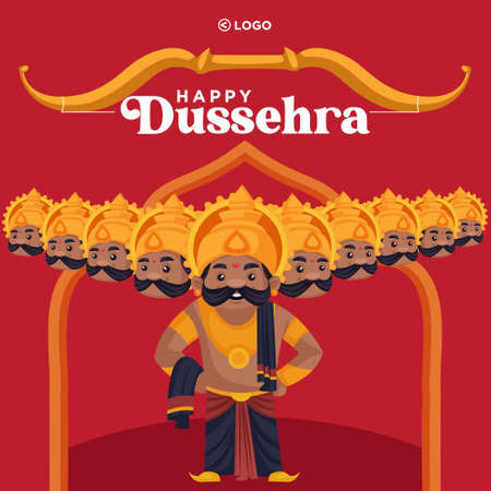 Banner design of Happy Dussehra enjoy the victory of good over evil cartoon style template. 矢量图像