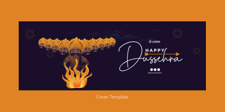 Cover page of Indian festival happy Dussehra template.
