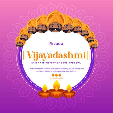 Banner design of Happy Vijayadashmi cartoon style template.