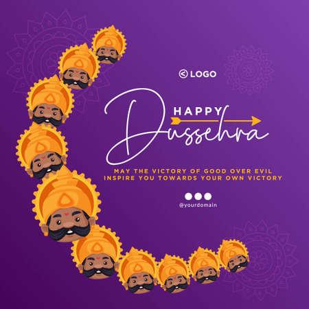 Banner design of Happy Dussehra cartoon style template.