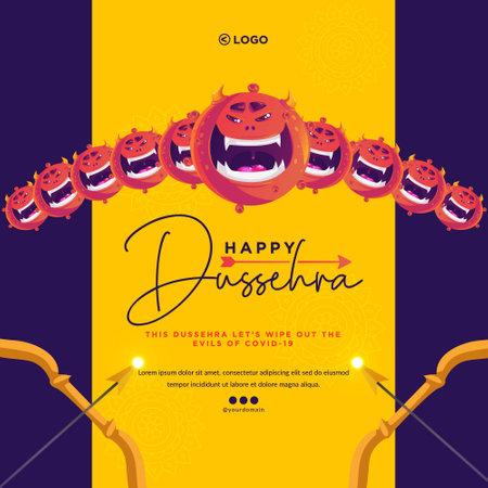 Creative banner design of Indian festival Happy Dussehra template.