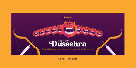 Cover page of Indian festival happy Dussehra cartoon style template.
