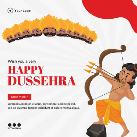 Creative banner of wish you a very Happy Dussehra template. 矢量图像