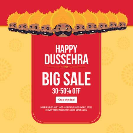 Banner design of Happy Dussehra big sale Indian festival template.