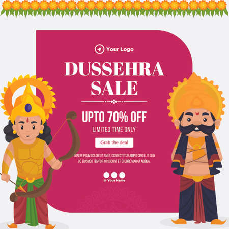 Creative banner design of Dussehra sale Indian festival template. 矢量图像