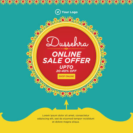 Banner design of Dussehra online sale offer template. 矢量图像