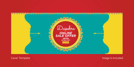 Cover page of Indian festival Dussehra online sale offer template.