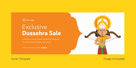 Cover page of Indian festival Dussehra sale template. 矢量图像