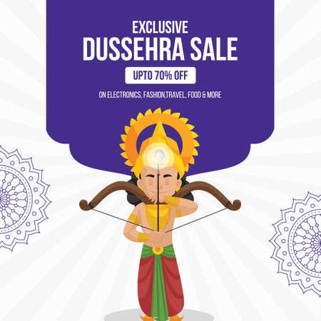 Banner design of Dussehra sale Indian festival template.