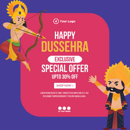 Creative banner design of Happy Dussehra special offer template. 矢量图像