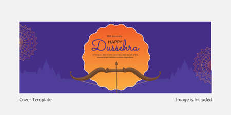 Cover page of wish you a very happy Dussehra template.