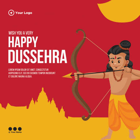 Banner design of wish you a very Happy Dussehra Indian festival template.