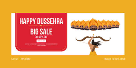 Cover page of Indian festival happy Dussehra big sale template.