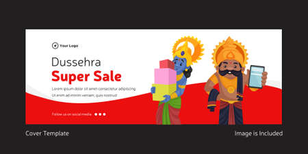 Cover page of Indian festival Dussehra super sale template. 矢量图像
