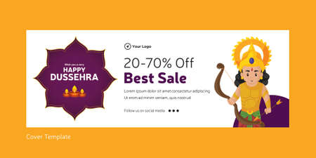 Cover page of Indian festival happy Dussehra best sale template. 矢量图像