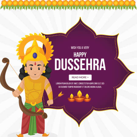Creative banner design of wish you a very Happy Dussehra Indian festival template.