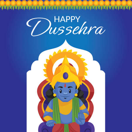 Creative banner design of Happy Dussehra festival template.