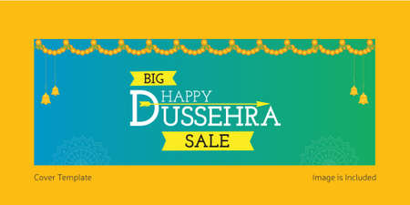 Cover page of big happy Dussehra sale template.