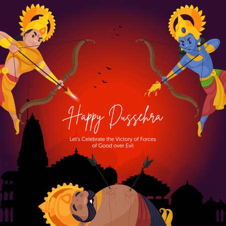 Indian festival happy Dussehra cartoon style template.