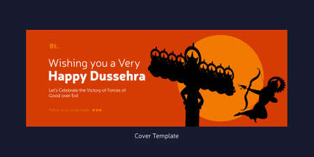 Cover page of Indian festival wish you a very Happy Dussehra cartoon style template.