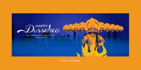 Cover page of Indian festival Happy Dussehra cartoon style template. 矢量图像