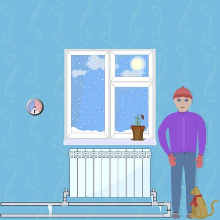 Illustration shows the discomfort in the home when heating system does not work.