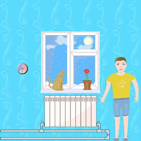 Illustration shows the warm and happiness in the home when heating system works well.