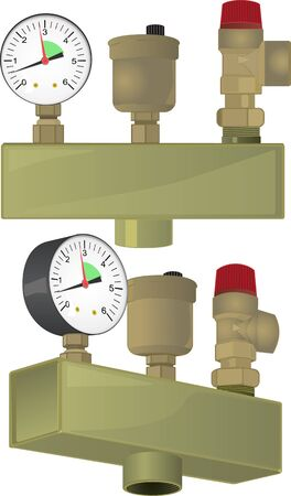Sicherheitsgruppe für Heizungsanlagen, bestehend aus einem Entlüftungsventil, einem Überströmventil und einem Manometer. Vektorgrafik