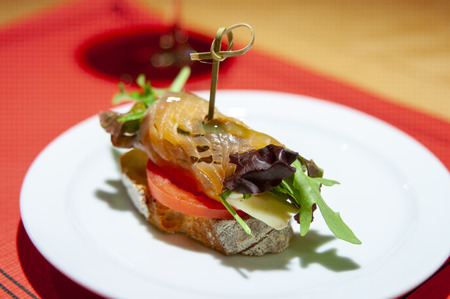 (Sliced) of salmon, rucula, cheese, lettuce, tomato shoot on slice of bread and subject by stick Foto de archivo