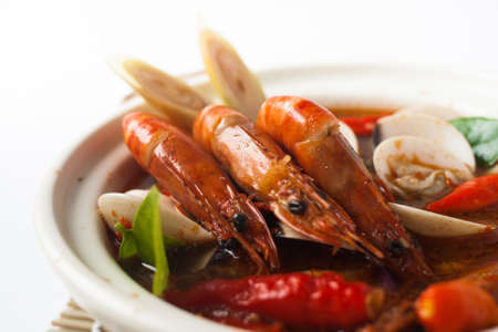 tom yum Thailand spicy seafood soup photo