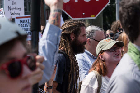 Charlottesville, Virginia USA August 12, 2017 Tension begins to rise at entrance to Emancipation (Lee) Park prior to start of rally for solidarity in support of Robert E Lee confederate statue