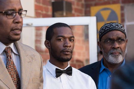 Charlottesville, Virginia USA October 17, 2017 Corey Longs lawyers Malik Zulu Shabazz and Jeroyd Greene after arrest for his part in the violence that took place at the Unite the Right rally in support of the confederate statues