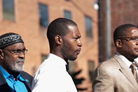 Charlottesville, Virginia USA October 17, 2017 Corey Longs arrest with lawyer Malik Zulu Shabbaz for his part in the violence that took place at the Unite the Right rally in support of the confederate statues