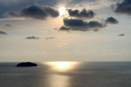 sunrays: Sunset and sunrays with dramatic sky over Koh Chang Thailand