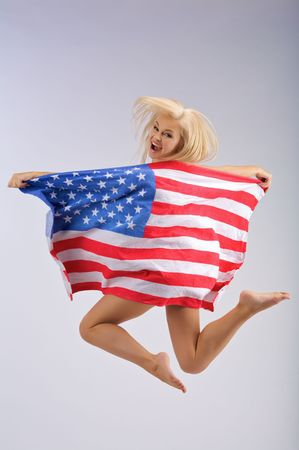 sexy girl dance: Jumping girl and an American flag