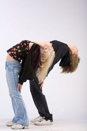 synchronously: Two girls cost having caved in back with the dismissed long hair
