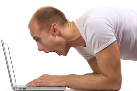 Isolated image crying man in a laptop.