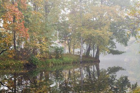great bay: Outdoor shot. Foggy fall island. Stock Photo