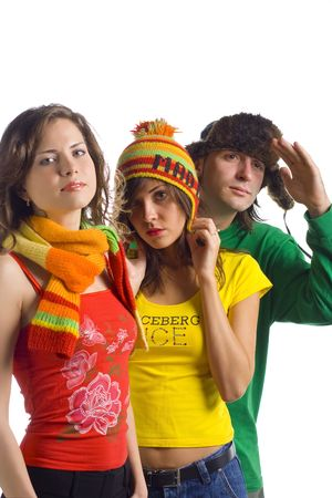Portrait of a group of three people dressed funny on a white background. photo