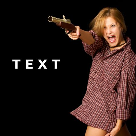 vintage riffle: A young woman with a vintage gun in her hand, aiming at the camera. Isolated pictures on a black background and more space for your text.