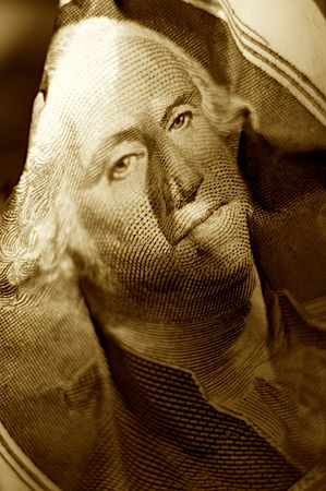 Close-up shoot of portrait Washington with mint one dollar note