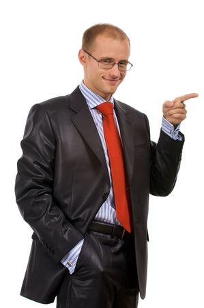 circumspect: Young businessman to point a finger at your text, object, ... Isolated on a white background in my studio.