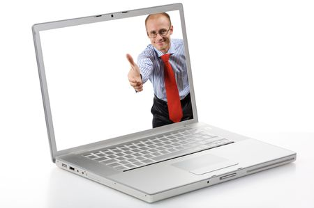Silver laptop isolated in studio and extend a hand businessman in white screen. Stock Photo